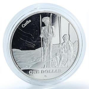 Saint John Island 1 dollar Indigenous Caribbean people silver plated coin 2015