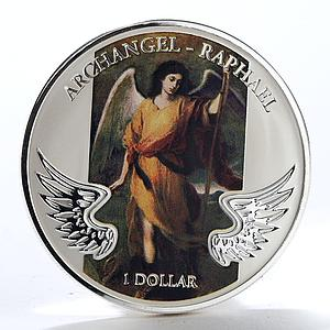 Solomon Islands 1 dollar Archangel Raphael color brass nickel coin 2011