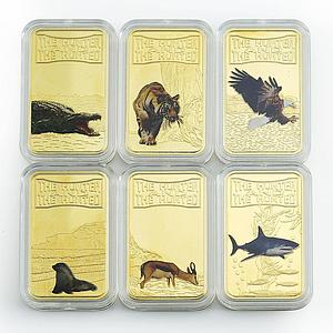 Somalia 25 shillings Wild Animals Hunter Fauna set of 12 gilded color coins 2013