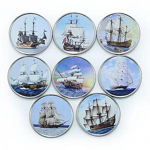 Somalia set of 7 coins Ships Sailboats colorized souvenir set 2014