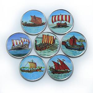 Somalia set of 7 coins Antique ships colorized souvenir set 2017