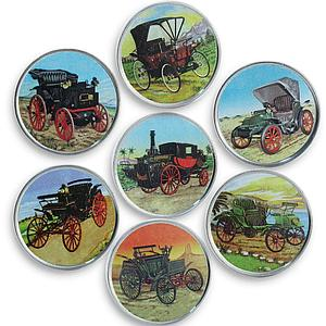 Somalia set of 7 coins Old Cars vintage car colorized souvenir set 2016