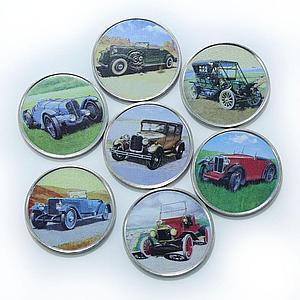 Somalia set of 7 coins Old Cars vintage car colorized souvenir set 2017