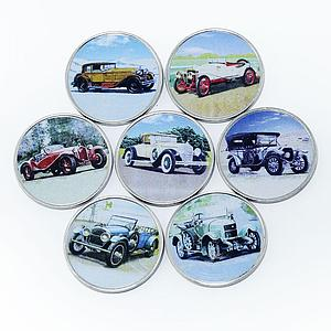 Somalia set of 7 coins Old Cars vintage car colorized souvenir set 2018