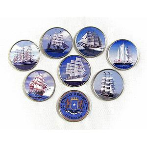 Somalia set of 7 coins Ships Sailboats colorized souvenir set 2015