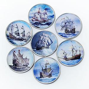 Somalia set of 7 coins Ships Sailboats colorized souvenir set 2016