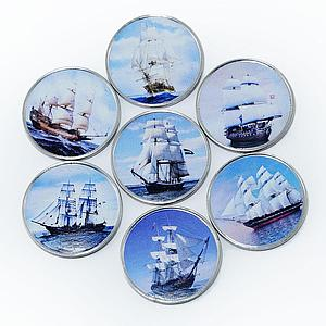 Somalia set of 7 coins Ships Sailboats colorized souvenir set 2018