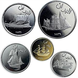 The island of Alboran Spain set of 5 coins Sailboats Ships 2015