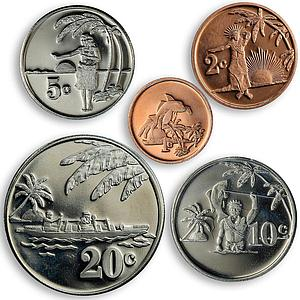 Tokelau set of 5 coins local population palm trees 2012