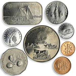 Tonga, set of 8 coins World Food Day Farming Agriculture FAO 1981 - 2011.
