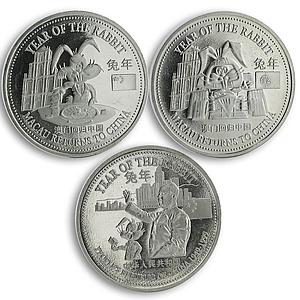 Trade dollar set of 3 coins Year of Rabbit Macau copper-nickel proof 1999