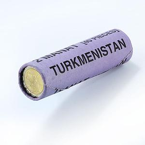 Turkmenistan 2 manat Bank Roll of 40 coins, currency