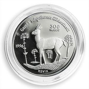 Turkmenistan 500 manat Gazelle Red Book fauna silver coin 1996