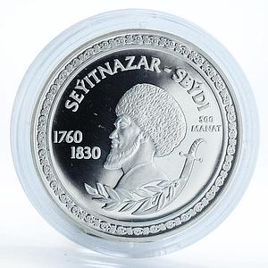 Turkmenistan 500 manat Great Turkmen Poet Seyitnazar silver proof coin 2003