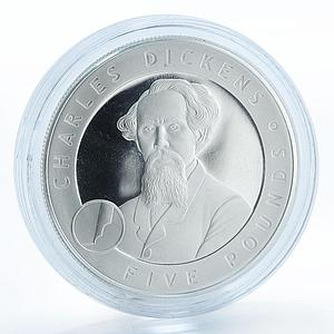 Alderney, 5 Pounds, Charles Dickens, silver proof coin 2006