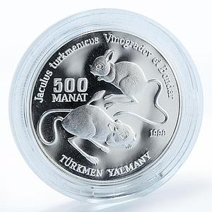 Turkmenistan 500 manat Red Book Turkmenistan Jerboa proof silver coin 1999