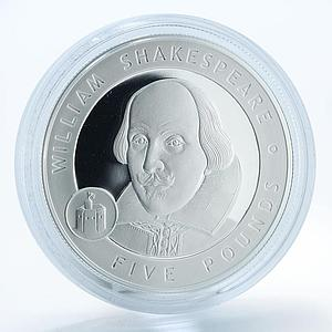 Alderney, 5 Pounds, William Shakespeare, silver proof coin 2006
