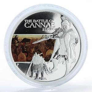 Tuvalu, 1 dollar 216 BC Battle of Cannae, silver coloured coin 2009