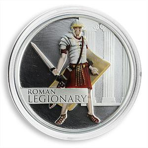 Tuvalu, 1 dollar, Great Warriors, Roman Legionary, Silver Coloured Proof 2010