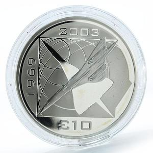 Alderney,10 Pound, CONCORDE 5th Anniversary, 5oz Silver, Proof, Royal Mint, 2008