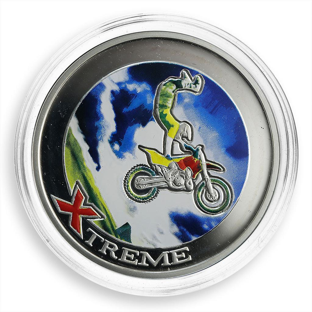 Andorra 10 dinars Extreme Sports Freestyle Motocross silver coloured coin 2008