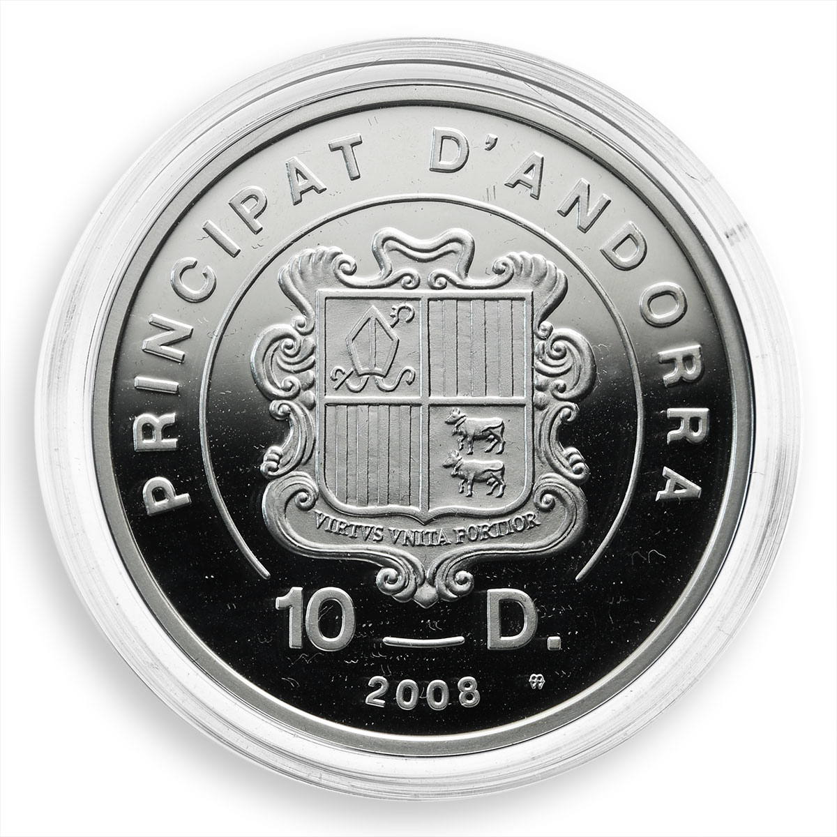Andorra, 10 dinars, Extreme Sports, Freestyle Motocross, silver Coloured 2008