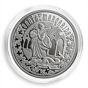 Andorra, 10 dinars, Holy Helpers, Saint Margaret, silver Proof coin, 2011