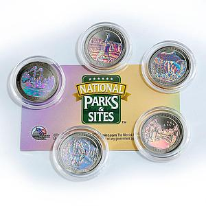 US 25 cents set of 5 America's National Park hologram coins 2011
