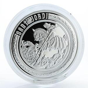 Andorra 10 dinars Holy Helpers St. George silver proof coin 2010