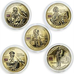 United Kingdom 1 crown 5 coins Set Great British Heroes Gilded nickel 2010
