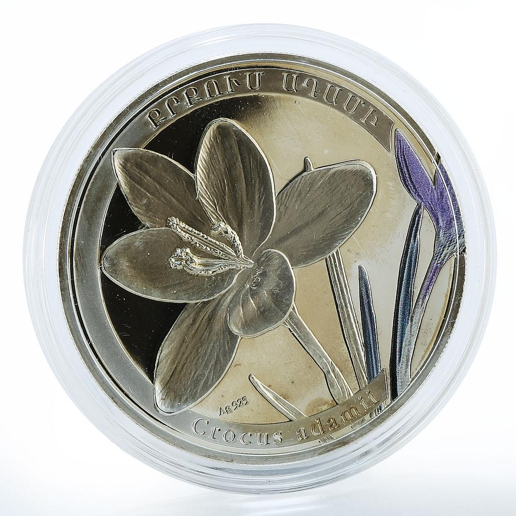 Armenia 1000 drams Crocus Saffron world of flowers proof silver coin 2011