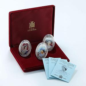 Zambia 4000 kwacha set of 3 coins 50th Accession of Queen Elizabet silver 2002