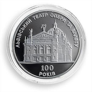 Ukraine 10 Hryvnas 100 Years Lviv Opera and Ballet Theatre Silver Proof 2000