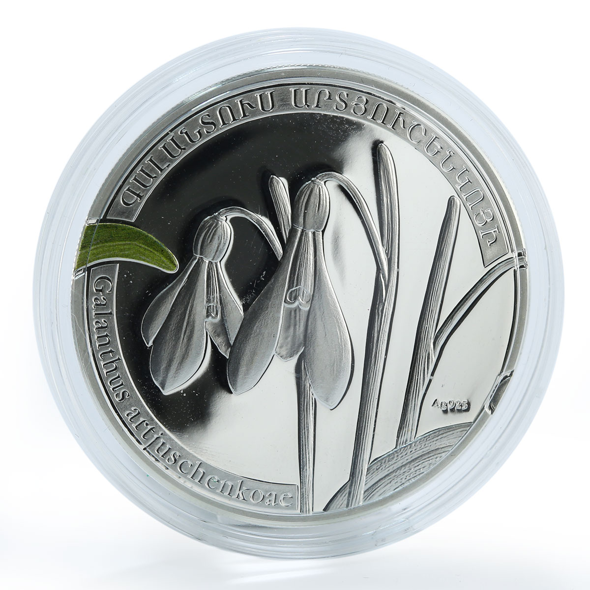 Armenia 1000 drams snowdrop world of flowers galanthus silver coin 2010