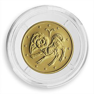 Ukraine 2 hryvnas Signs of the Zodiac Aries Golden Coin 2006