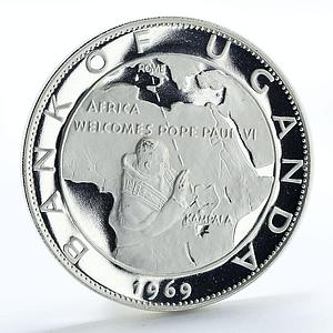 Uganda 20 shillings Visit of Pope Paul VI proof silver coin 1970