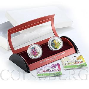 Singapore set of 2 coins 5 dollars Orchids flora silver coloured coin 2008