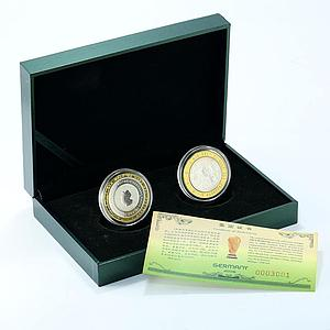 Germany set 2 coins I love FIFA World Cup football silver 2006