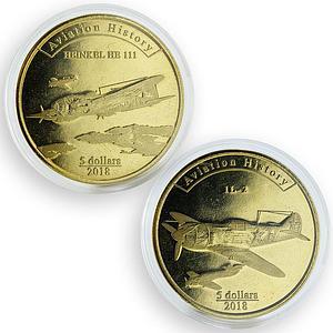 Agrihan 5 dollars set of 2 coins Aviation History Aircraft 2018