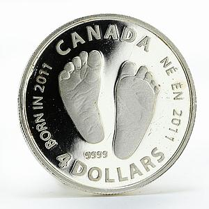 Canada 4 dollars Welcome to the World silver coin 2011