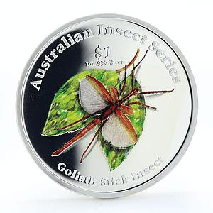 Cook Islands 1 dollar Goliath Stick Insect proof silver coin 2000
