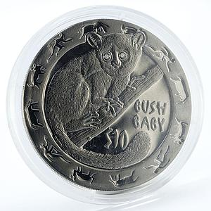Sierra Leone 10 dollars Nocturnal Animals Bush baby silver coin 2008