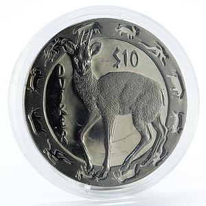 Sierra Leone 10 dollars Nocturnal Animals series Duiker silver coin 2008