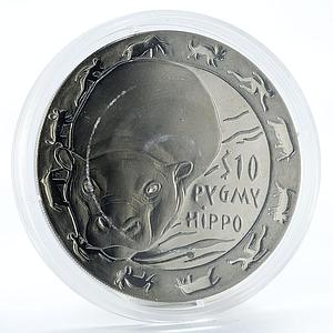 Sierra Leone 10 dollars Nocturnal Animals series Pygmy Hippo silver coin 2008