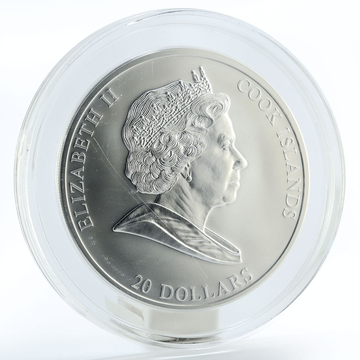 Cook Islands 20 dollars Art Michelangelo Buonarroti crystals silver coin 2008