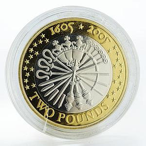 United Kingdom 2 pounds 400th Gunpowder Plot gilded silver coin 2005