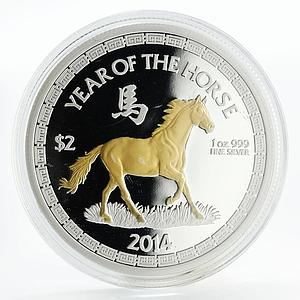 Niue 2 dollars Lucky Blessings Year of the Horse silver coin 2014