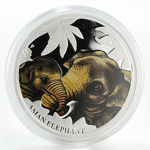 Tuvalu 50 cents Asian Elephant colored proof silver coin 2014