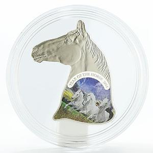 Niue 1 dollar Year of the Horse head shape colored silver coin 2014