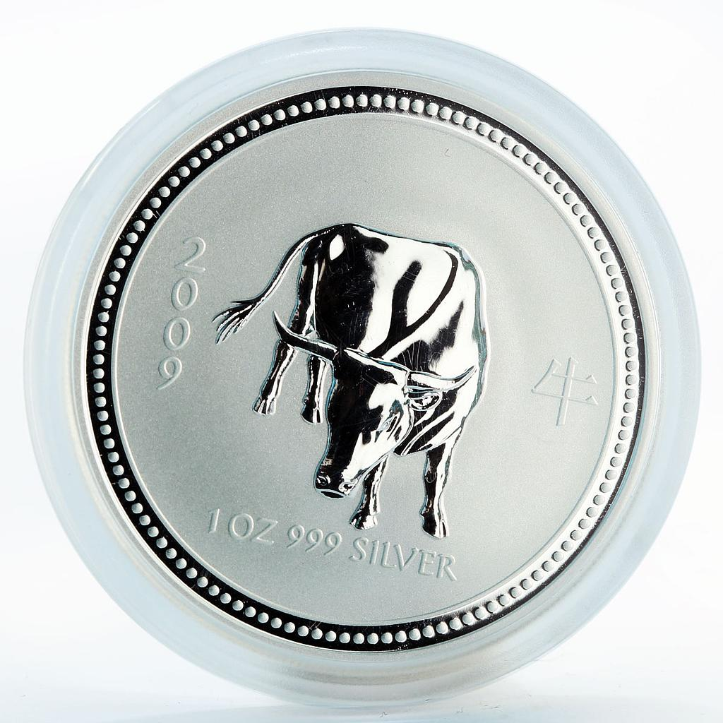 Australia 1 dollar Year of the Ox Lunar Calendar Series I silver coin 2007